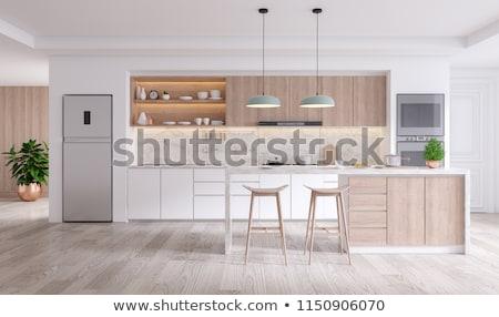 Konyha belső étkezőasztal tágas otthon lakberendezés virágok Stock fotó © manera