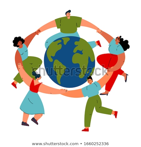 Colored doodle globe in women hands Stock photo © netkov1