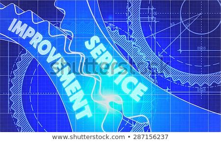 Karbantartás javulás terv fogaskerekek technikai rajz Stock fotó © tashatuvango