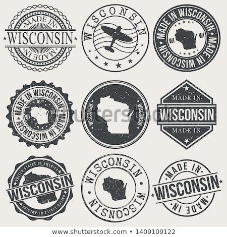 Stock fotó: Gumi · tinta · bélyeg · Wisconsin · szöveg