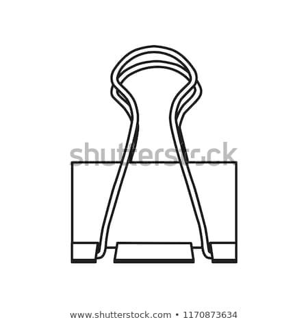 doodle · paperclip · icon · Blauw · pen - stockfoto © pakete
