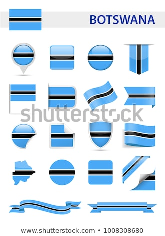 Stock photo: Square pin with flag of botswana