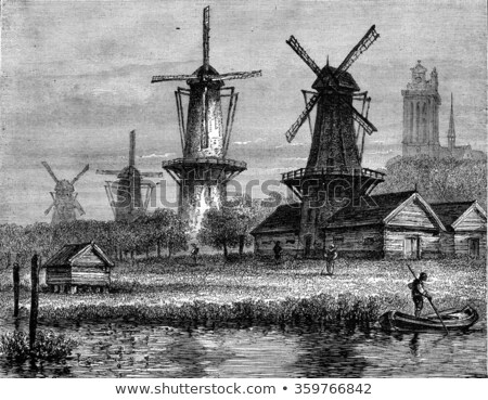 Windmill, vintage engraving. Stock photo © Morphart