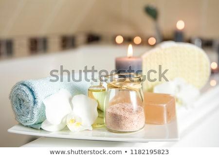 Kék fürdősó szett köteg fehér háttér Stock fotó © grafvision
