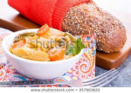 Bowl of Turkish leek soup with bread Stock photo © ozgur