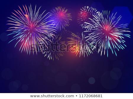 Colorido fogos de artifício azul preto céu feliz Foto stock © vapi