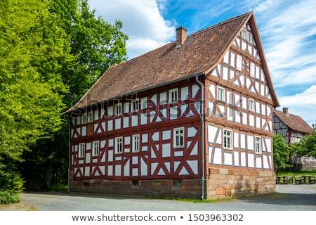 velho · fazenda · edifícios · pôr · do · sol · inverno · nascer · do · sol - foto stock © meinzahn