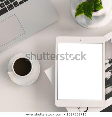 black coffee with blank digital tablet and mobile phone magazin stock photo © dashapetrenko