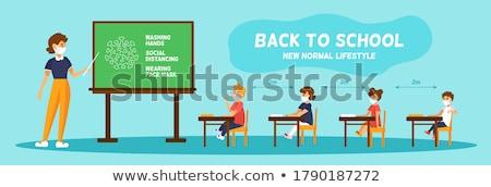 школы учитель женщину столе образование иллюстрация Сток-фото © vectorikart