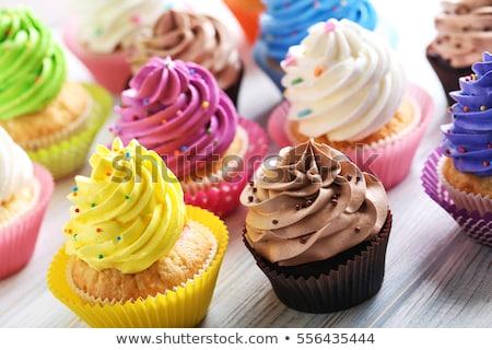 Stock fotó: Minitorta · születésnap · asztal · háttér · zöld · szín