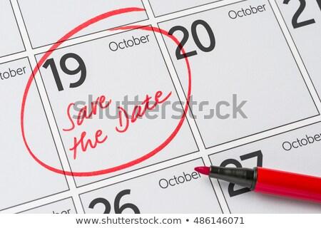 Mettre date écrit calendrier 19 fête Photo stock © Zerbor