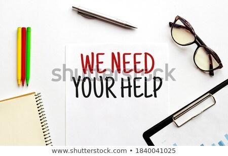 Segítség szöveg jegyzettömb toll piros felirat Stock fotó © fuzzbones0