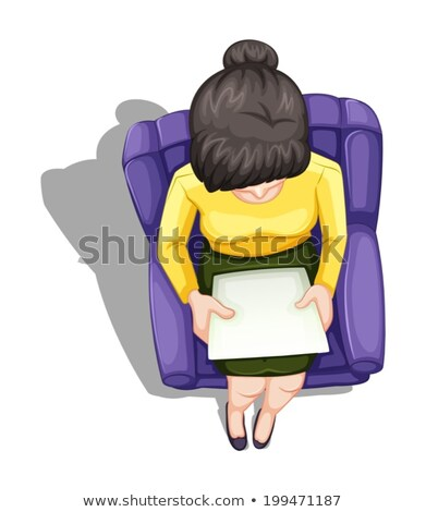 A topview of a woman reading while sitting down Stock photo © bluering
