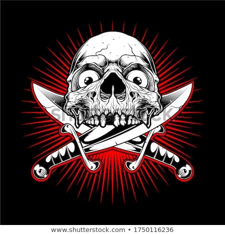 Skelet hoofd zwaarden illustratie Stockfoto © penivajz
