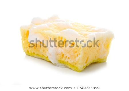 Citromsárga szivacs fehér takarítás szappan mos Stock fotó © racoolstudio