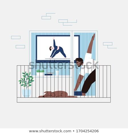 hombre · yoga · Asia · joven · pie - foto stock © RAStudio