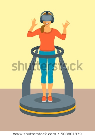 Woman with virtual reality glasses on game controller platform Stock photo © vectorikart