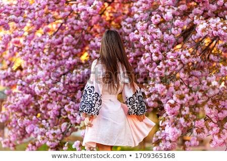 Foto stock: Flores · jóvenes · mujer · hermosa · grande · ramo