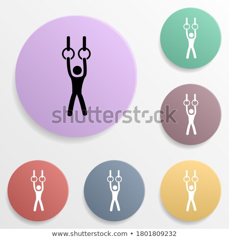 Gymnast on stationary rings sketch icon. Stock photo © RAStudio
