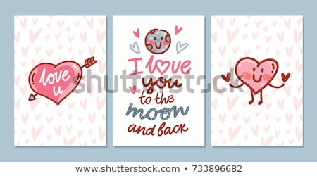 Font design for word love with love couple Stock photo © bluering