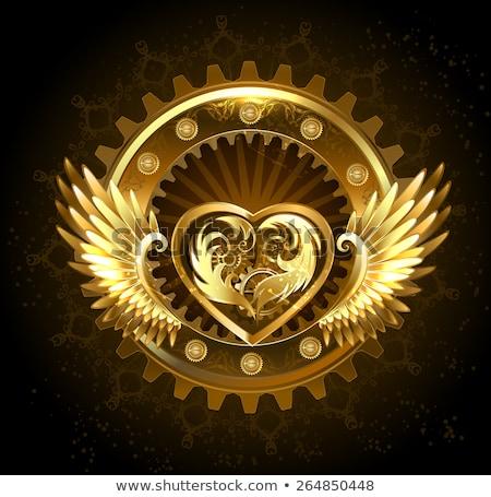 Foto d'archivio: Meccanica · cuore · ali · attrezzi · oro · ottone