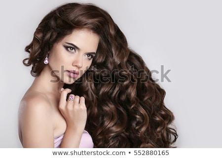 vrouw · zwart · haar · elegante · bruin · jurk · geïsoleerd - stockfoto © victoria_andreas