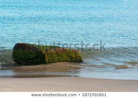 Kayalar deniz mavi gökyüzü plaj su manzara Stok fotoğraf © compuinfoto