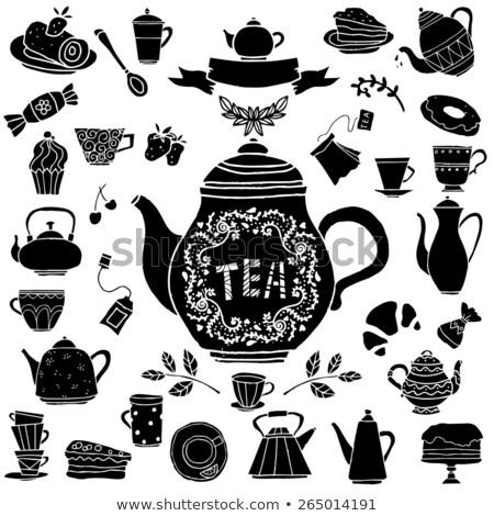 чайник чайная чашка ложку синий деревянный стол пространстве Сток-фото © marimorena