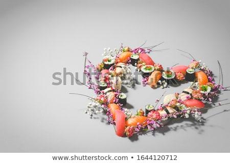 Stockfoto: Sushi · ontwerp · ingesteld · voedsel · vis · hart