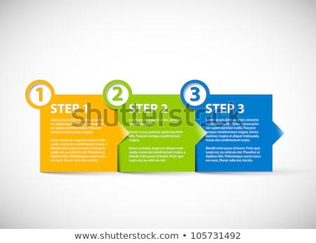 Stockfoto: Een · twee · vector · vooruitgang · papier · product