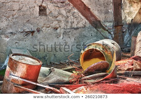 Old, rusty barrels with toxic chemical waste Stock photo © wellphoto