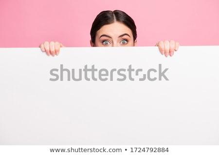 bastante · menina · branco · mensagem · conselho - foto stock © konradbak