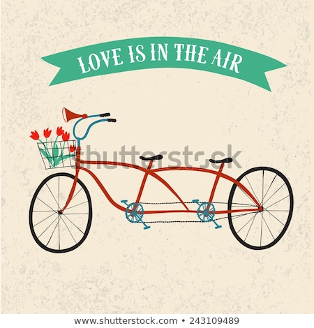Valentine's Day postcard with vintage tandem bicycle vector isol Stock photo © NikoDzhi