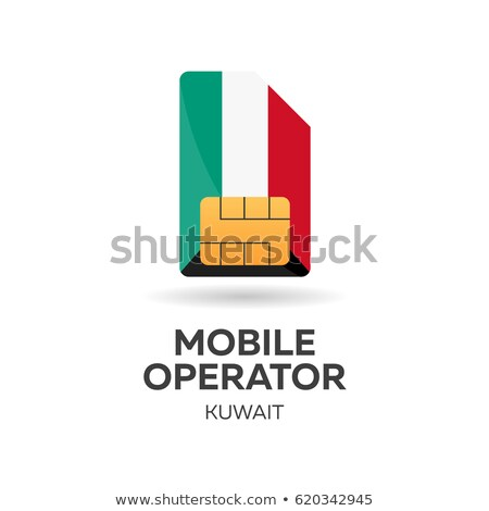 Kuwait mobile operator. SIM card with flag. Vector illustration. Stock photo © Leo_Edition