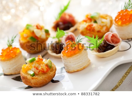 buffet food, assortment of canape Stock photo © M-studio
