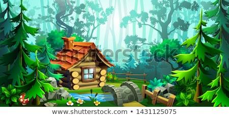 Foto stock: Escena · casa · campo · ilustración · montana