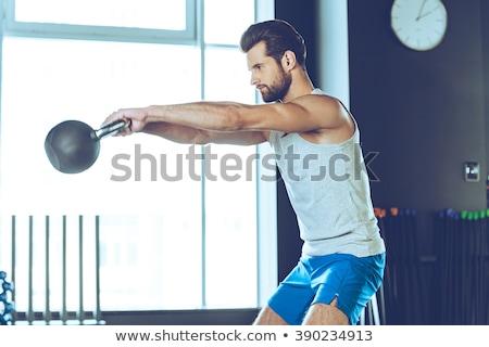 crossfit · tornaterem · emel · bár · súlyok · fitnessz - stock fotó © iko
