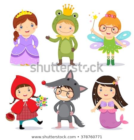 Little girl wearing a Halloween frog costume Stock photo © zooco