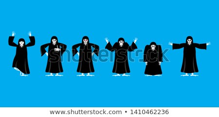 Grim reaper set poses and motion. death happy and yoga. skeleton Stock photo © popaukropa