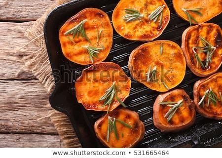 Zoete aardappel schaal plantaardige voedsel gezonde ui Stockfoto © Peteer