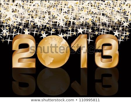 Vrolijk christmas gelukkig nieuwjaar gouden planeet behang Stockfoto © carodi