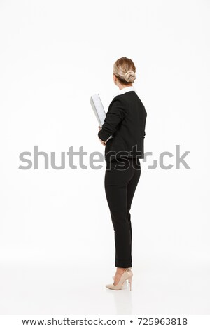 背面図 · 肖像 · 小さな · ブロンド · 女性 · グレー - ストックフォト © deandrobot
