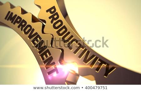 Foto stock: Productividad · mejora · dorado · metálico · mecanismo