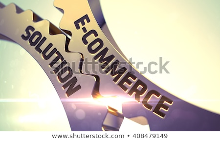 E-Commerce Solution Concept. Golden Cog Gears. Stock photo © tashatuvango