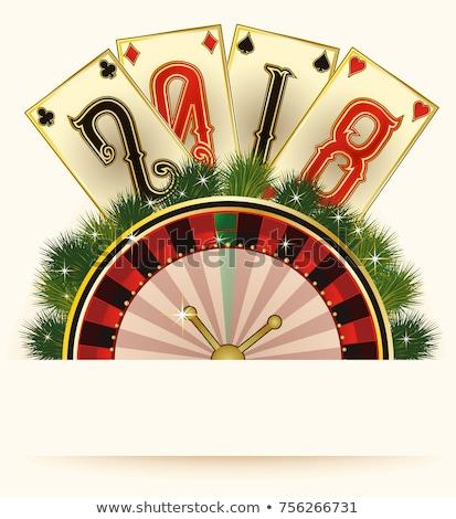 Stock photo: Casino Christmas invitation card, new 2018 year, vector illustration
