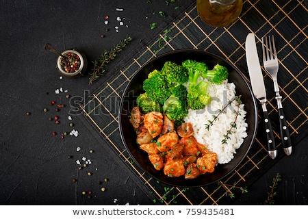 Turkije borst filet rijst groenten schaal Stockfoto © Digifoodstock