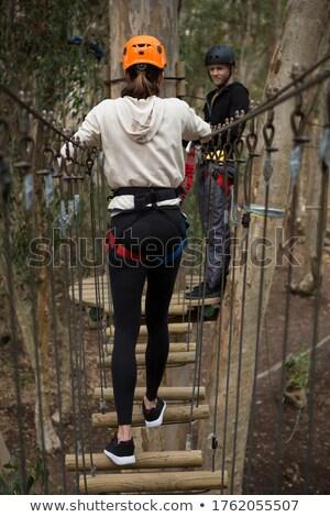 Kadın kask köprü adam bekleme Stok fotoğraf © wavebreak_media