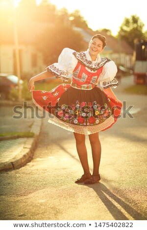 Mulher jovem decorado cerimonial vestir tradição vivo Foto stock © lightpoet