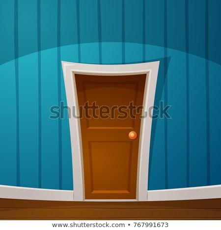 Cartoon door, plinth, wall-papers, wall, handle illustration. Stock photo © rwgusev