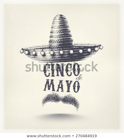 cinco de mayo poster design with mustache and hat stock photo © bluering